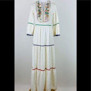 Vintage Miss K Alfred Shaheen Embroidered Dress